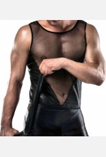 Passion Mens Wet Look Short and Vest
