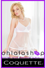 Coquette Blushing Bridal Mesh And Tulle Babydoll And G String