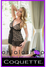 Coquette Eyelash Mesh Babydoll And G-string