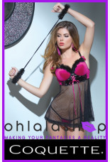 Coquette Spellbound Stretch Velvet Babydoll And G String