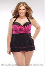 Coquette Stretch Lace And Mesh Babydoll And G-string