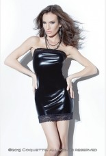 Coquette Darque Wet Look Tube Black Dress