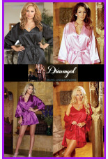 Dreamgirl Charmeuse Robe Set With Babydoll