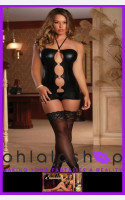 Magic Silk Exposed Liquid Onyx Front Ring Black Dress And G String