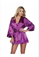 Dreamgirl Orchid Charmeuse Robe Set With Babydoll