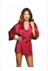 Dreamgirl Red Charmeuse Robe Set With Babydoll