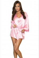 Dreamgirl Pink Charmeuse Robe Set With Babydoll