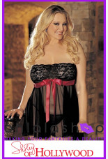 Shirley of Hollywood H.O.T.  Lace And Mesh Babydoll With G-string