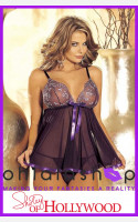 Shirley of Hollywood H.O.T. Sheer Net Lace Babydoll And G String