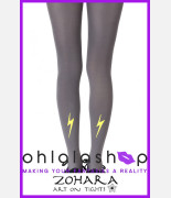 "Zohara ""Electric Feel"" Silver Print Tights"